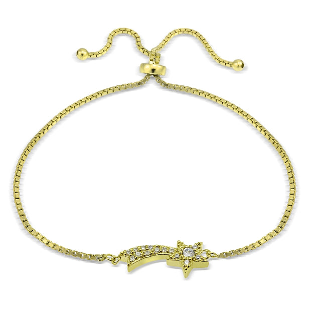 Gold Tone over Sterling Sterling Silver Cubic Zirconia Shooting Star Adjustable Bracelet