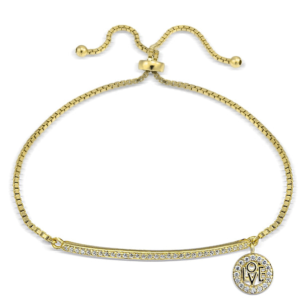 Gold Tone over Sterling Silver  Cubic Zirconia 'Love' Charm Bar Adjustable Bracelet