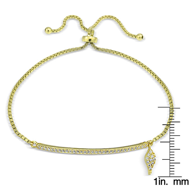 Gold Tone over Sterling Silver Cubic Zirconia Bar Wing Charm Adjustable Bracelet