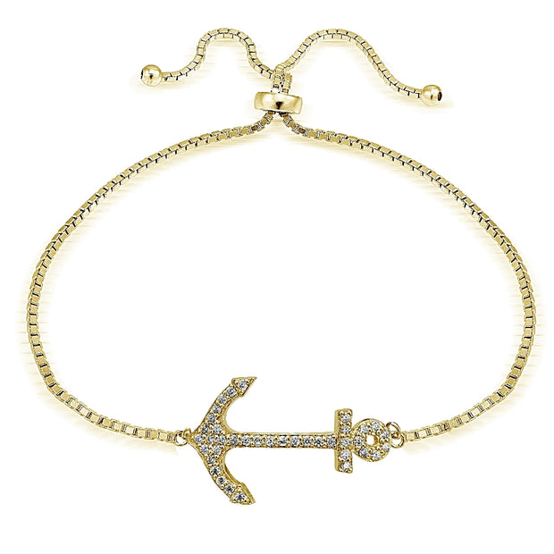 Gold Tone over Sterling Silver Cubic Zirconia Anchor  Adjustable Bracelet