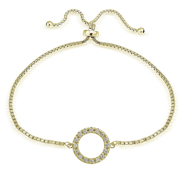 Gold Tone over Sterling Silver Cubic Zirconia Circle  Adjustable Bracelet