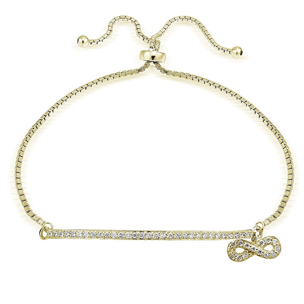 Gold Tone over Sterling Silver Cubic Zirconia Infinity & Bar Adjustable Bracelet
