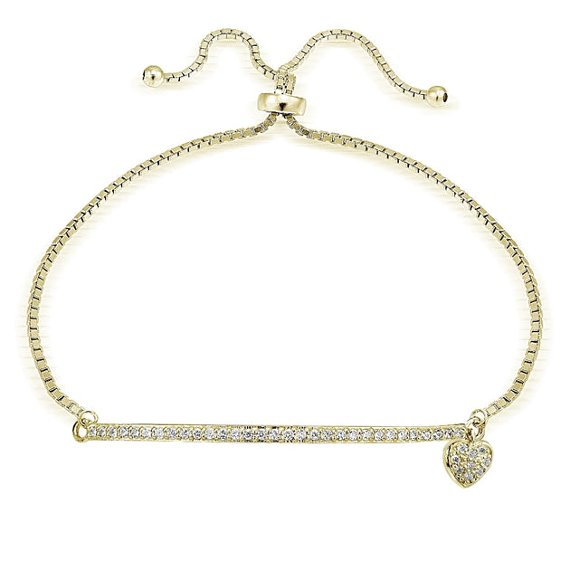 Gold Tone over Sterling Silver Cubic Zirconia Heart & Bar Adjustable Bracelet