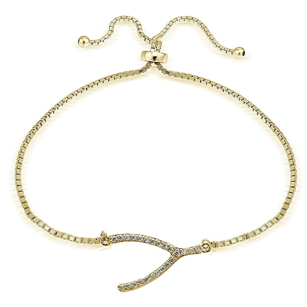 Gold Tone over Sterling Silver Cubic Zirconia Wish Bone Adjustable Bracelet