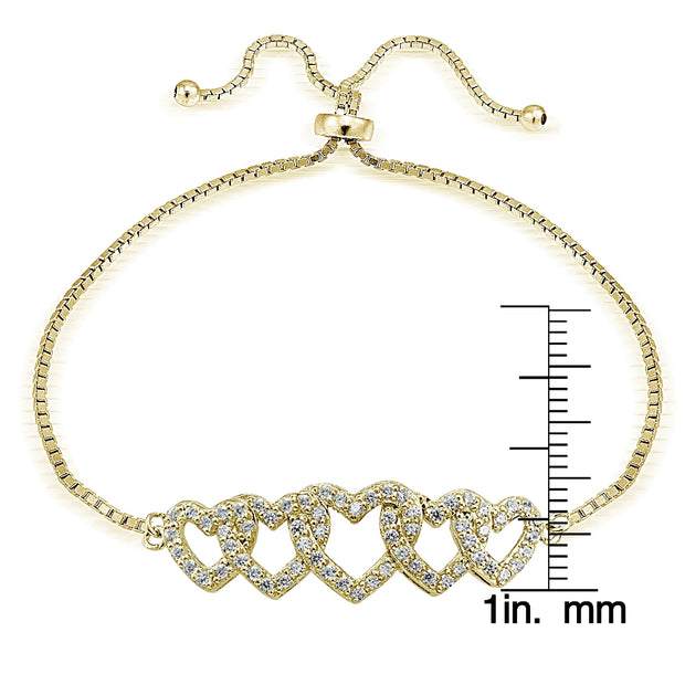 Gold Tone over Sterling Silver Cubic Zirconia Intertwining Hearts Adjustable Bracelet