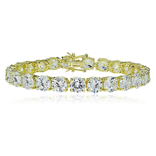 Gold Tone over Sterling Silver 8mm Round Cubic  Zirconia Tennis Bracelet