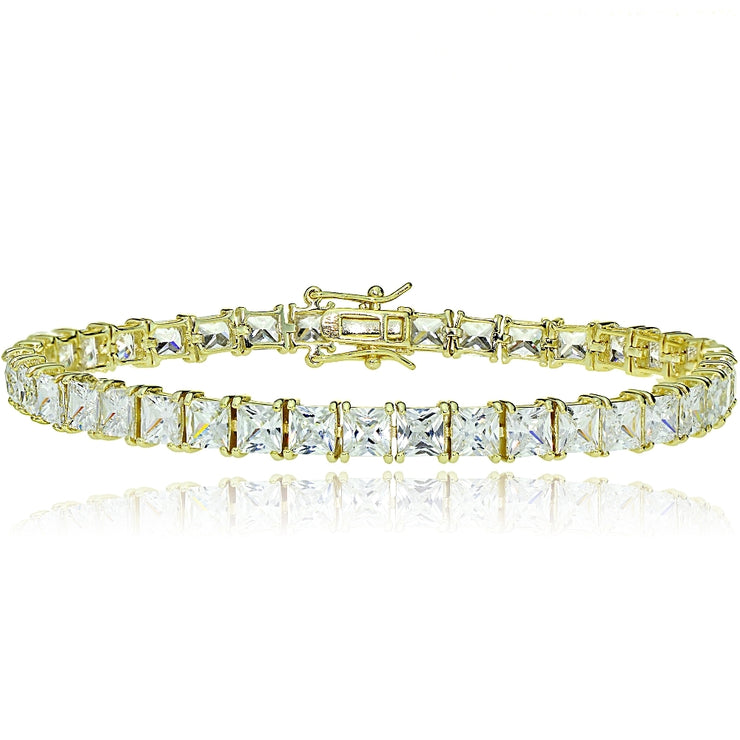 Gold Tone over Sterling Silver Princess-cut Cubic  Zirconia 5x5mm Tennis Bracelet