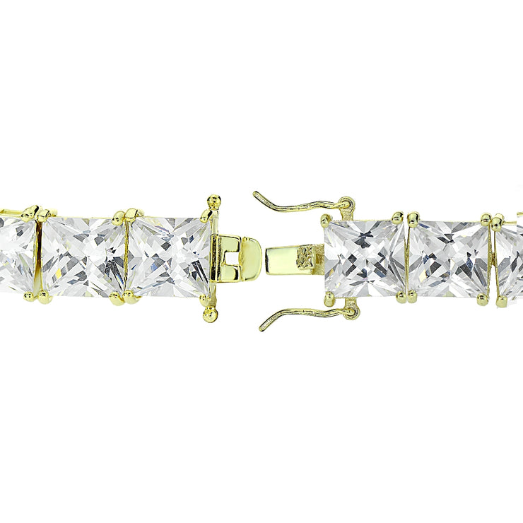 Gold Tone over Sterling Silver Princess-cut Cubic  Zirconia 6x6mm Tennis Bracelet