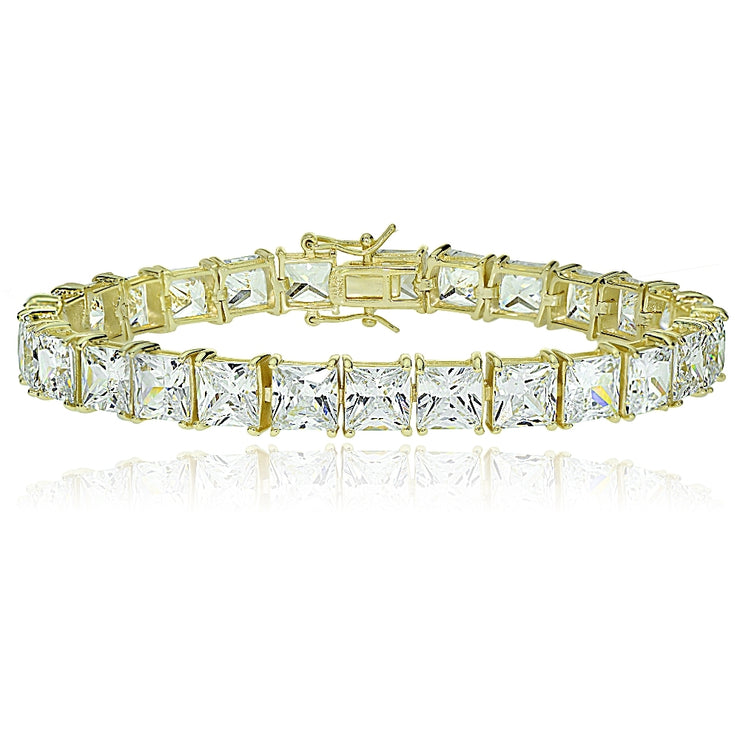Gold Tone over Sterling Silver Princess-cut Cubic  Zirconia 7x7mm Tennis Bracelet