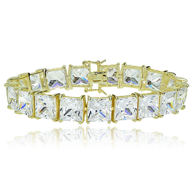 Gold Tone over Sterling Silver Princess-cut Cubic  Zirconia 9x9mm Tennis Bracelet