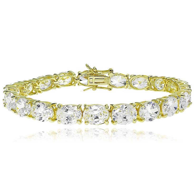 Gold Tone over Sterling Silver Oval Cubic  Zirconia 9x7mm Tennis Bracelet