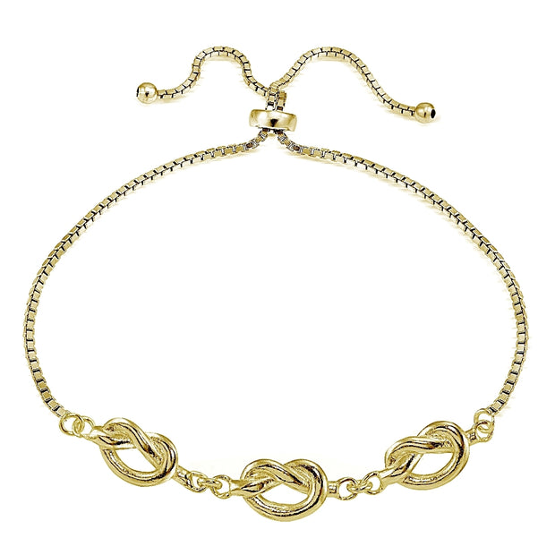 Gold Tone over Sterling Silver Polished Pretzel Love Knot Adjustable Bracelet