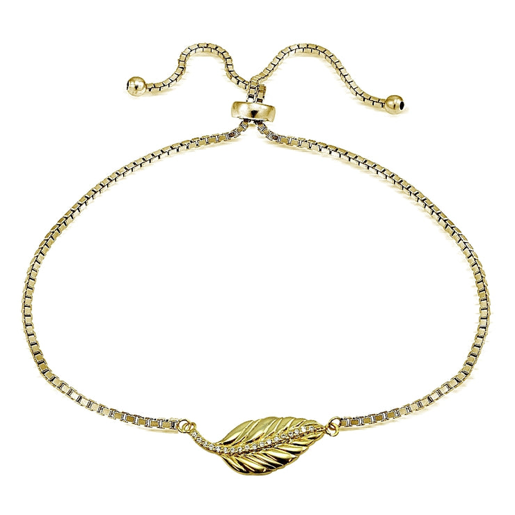 Gold Tone Sterling Silver Cubic Zirconia Leaf Adjustable Bracelet