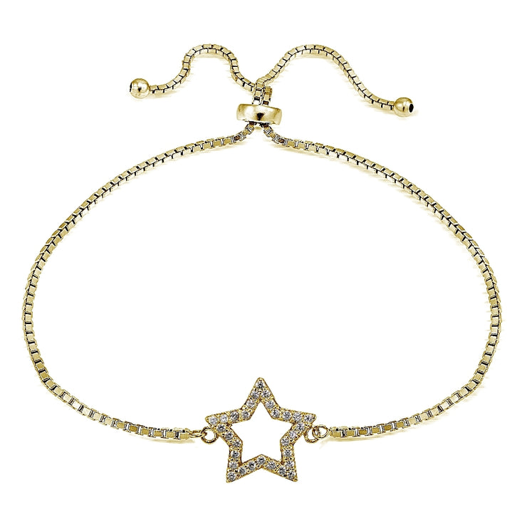 Gold Tone over Sterling Silver Cubic Zirconia Star Adjustable Bracelet