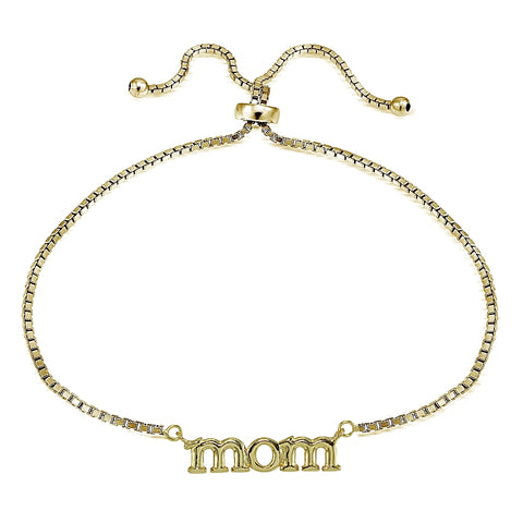Gold Tone over Sterling Silver Mom Polished Adjustable Bracelet