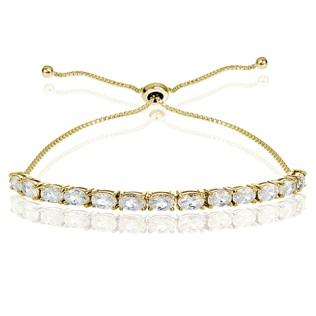 Yellow Gold Flashed Sterling Silver Cubic Zirconia 5x3mm Oval-cut Adjustable Bracelet