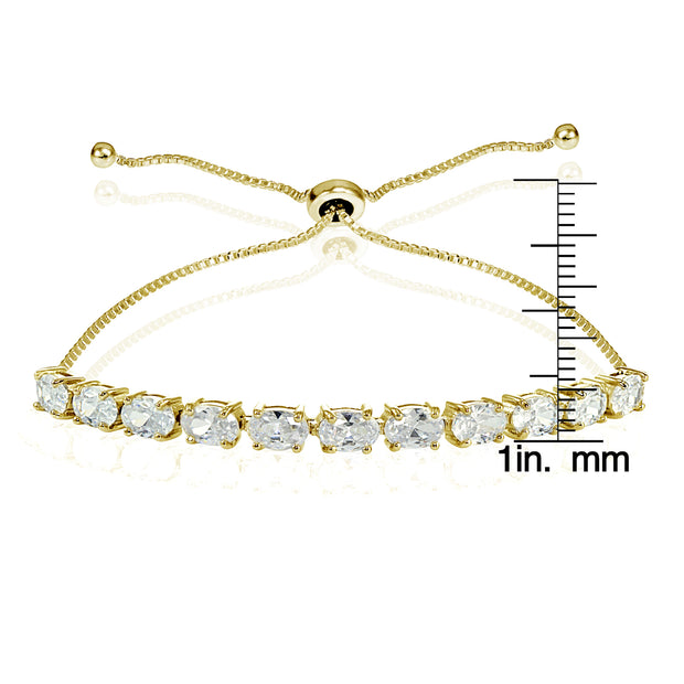 Yellow Gold Flashed Sterling Silver Cubic Zirconia 6x4mm Oval-cut Adjustable Bracelet