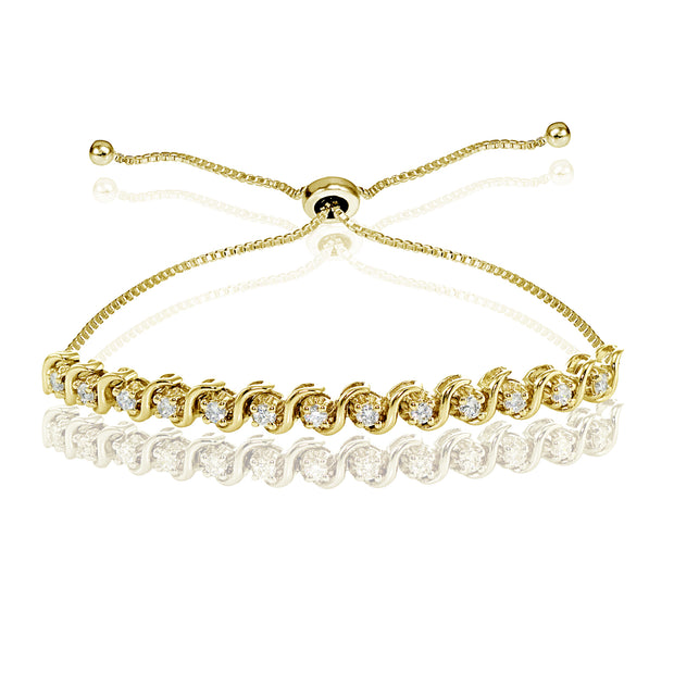Yellow Gold Flashed Sterling Silver Cubic Zirconia 2mm Round-cut S Design Adjustable Bracelet