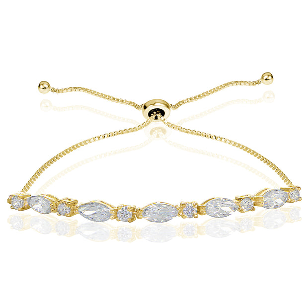 Yellow Gold Flashed Sterling Silver Cubic Zirconia Marquise and Oval-cut Adjustable Bracelet