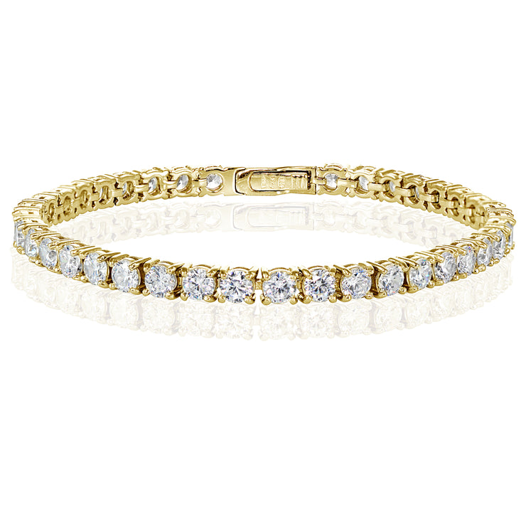 Yellow Gold Flashed Sterling Silver Cubic Zirconia 4mm Round-cut Tennis Bracelet