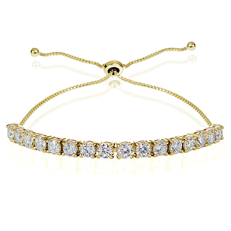 Yellow Gold Flashed Sterling Silver Cubic Zirconia 4mm Round-cut Adjustable Bracelet