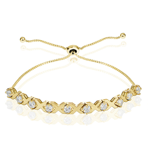 Yellow Gold Flashed Sterling Silver Cubic Zirconia XO Design Adjustable Bracelet