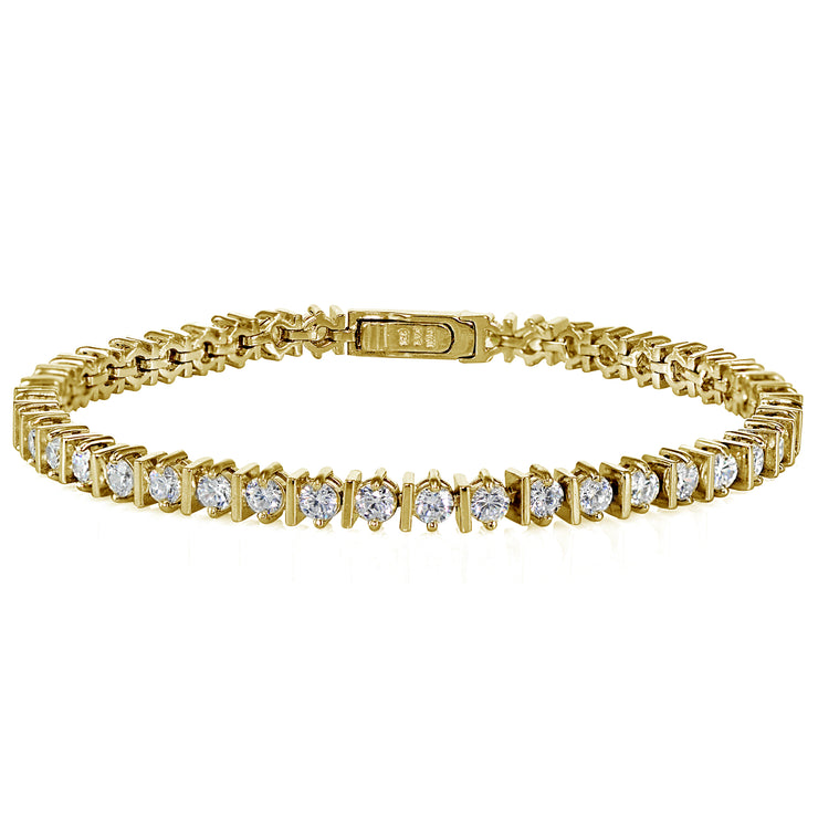 Yellow Gold Flashed Sterling Silver Cubic Zirconia 3mm Tennis Bracelet