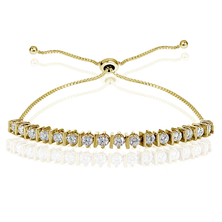 Yellow Gold Flashed Sterling Silver Cubic Zirconia 3mm Adjustable Bracelet
