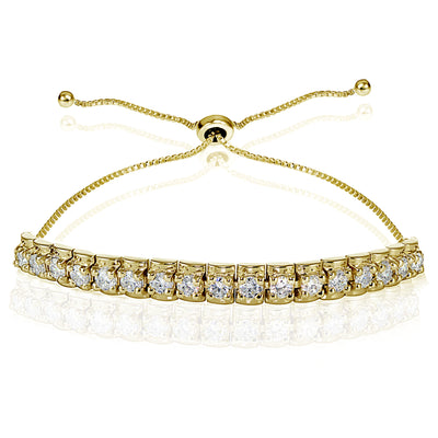 Yellow Gold Flashed Sterling Silver Cubic Zirconia 3mm Bar Adjustable Bracelet