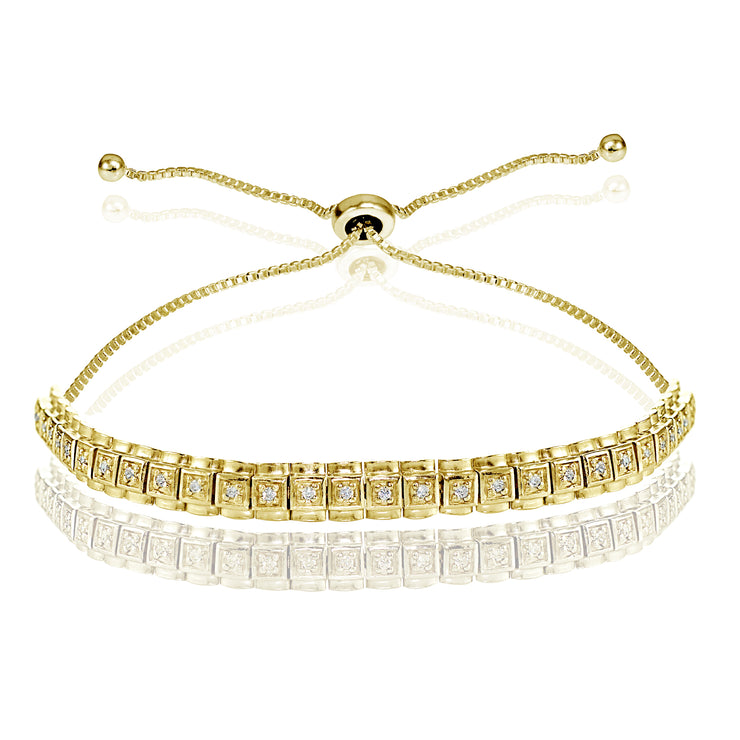 Yellow Gold Flashed Sterling Silver Cubic Zirconia 1.3mm Bar Adjustable Bracelet