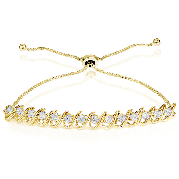 Yellow Gold Flashed Sterling Silver Cubic Zirconia S-Link Design Adjustable Bracelet
