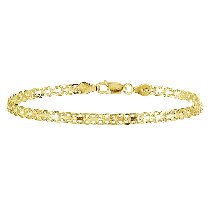 Yellow Gold Flashed Sterling Silver 4mm Polished Bismark Chain Bracelet