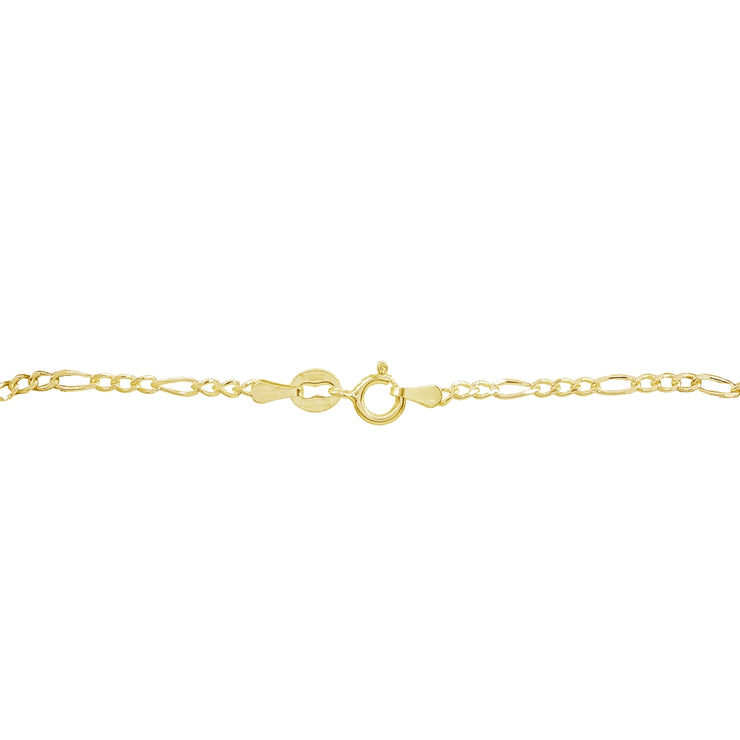 Yellow Gold Flashed Sterling Silver 2.5mm Italian Figaro Link Chain Bracelet
