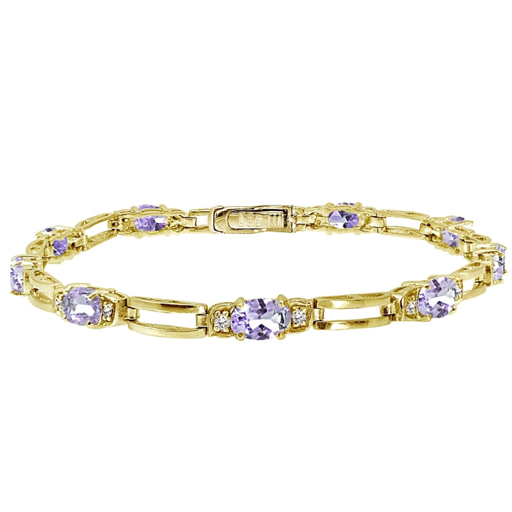 Yellow Gold Flashed Sterling Silver Amethyst and Cubic Zirconia Oval & Bar Link Bracelet