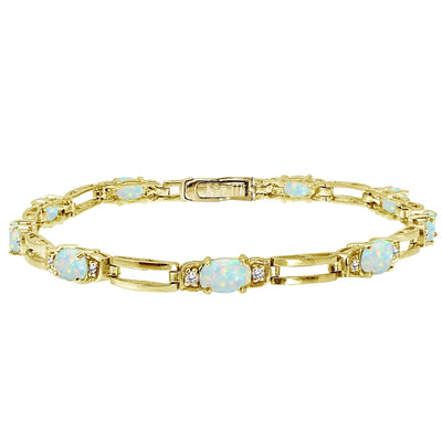 Yellow Gold Flashed Sterling Silver Created White Opal and Cubic Zirconia Oval & Bar Link Bracelet