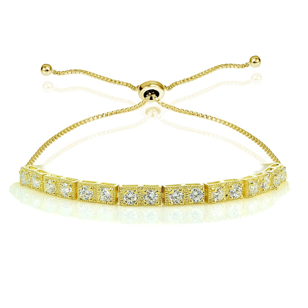 Yellow Gold Flashed Sterling Silver 3mm Cubic Zirconia Classic Bar Adjustable Tennis Bracelet