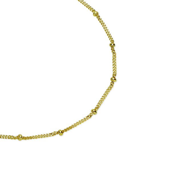 Yellow Gold Flashed Sterling Silver 2mm Bead Station Cable Chain Bracelet, 8 Inches