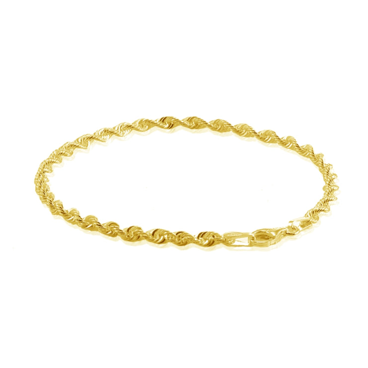 Yellow Gold Flashed Sterling Silver 2mm Twist Rope Chain Bracelet, 7 Inches