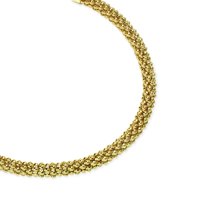 Yellow Gold Flashed Sterling Silver 4mm Popcorn Chain Bracelet, 8 Inches