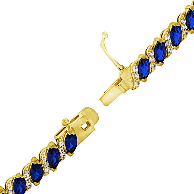 Yellow Gold Flashed Sterling Silver Created Blue Sapphire Marquise-cut 6x3mm Tennis Bracelet with White Topaz Accents