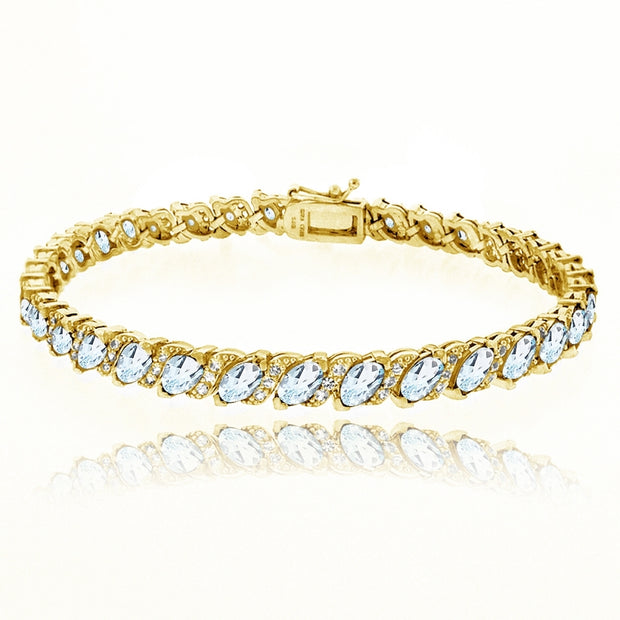 Yellow Gold Flashed Sterling Silver Blue Topaz Marquise-cut 6x3mm Tennis Bracelet with White Topaz Accents
