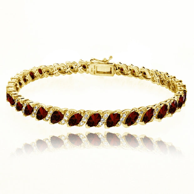 Yellow Gold Flashed Sterling Silver Garnet Marquise-cut 6x3mm Tennis Bracelet with White Topaz Accents
