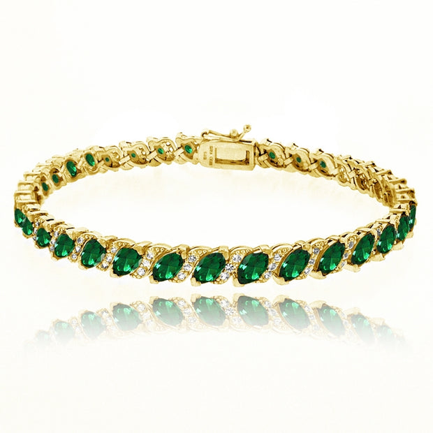 Yellow Gold Flashed Sterling Silver Simulated Emerald Marquise-cut 6x3mm Tennis Bracelet with White Topaz Accents