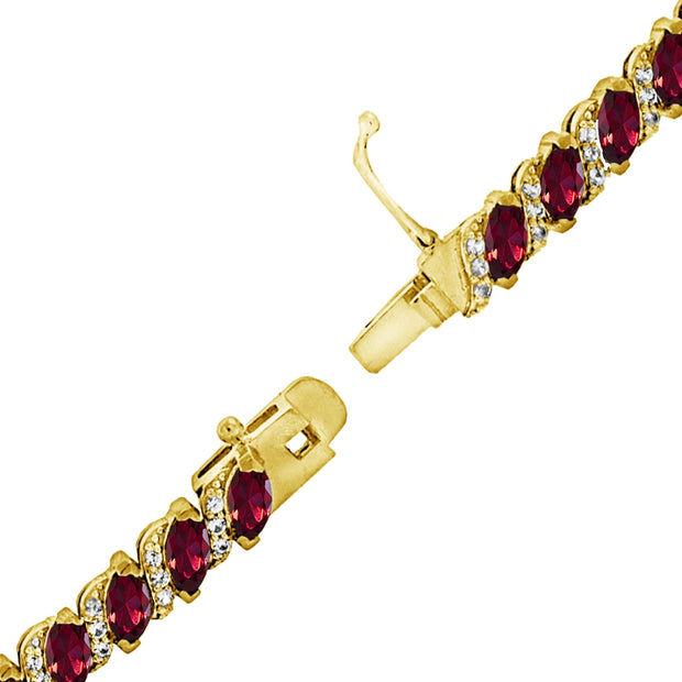 Yellow Gold Flashed Sterling Silver Created Ruby Marquise-cut 6x3mm Tennis Bracelet with White Topaz Accents