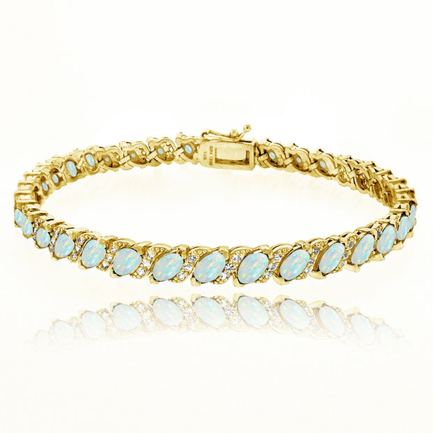 Yellow Gold Flashed Sterling Silver Created White Opal Marquise-cut 6x3mm Tennis Bracelet with White Topaz Accents