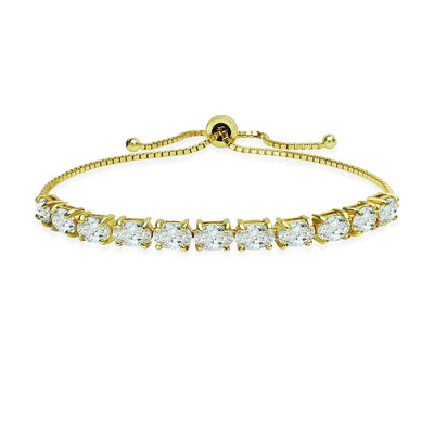 Gold Flashed Sterling Silver 6x4mm Oval Adjustable Bracelet Made with Swarovski Zirconia
