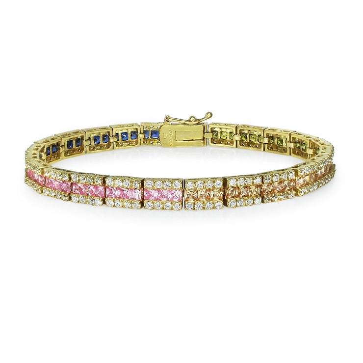 Yellow Gold Flashed Sterling Silver Multi-Color Cubic Zirconia Channel-Set Tennis Bracelet