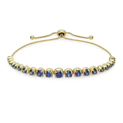 Yellow Gold Flashed Sterling Silver Blue Cubic Zirconia Round Graduated Adjustable Bolo Bracelet