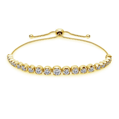 Yellow Gold Flashed Sterling Silver Cubic Zirconia Round Graduated Adjustable Bolo Bracelet
