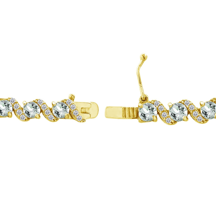 Yellow Gold Flashed Sterling Silver Aquamarine 4mm Round-Cut S Design Tennis Bracelet with White Topaz Accents